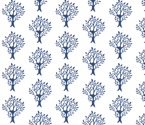 White tree stamp fabric5 - Orchard - dk-blue-WHITE fabric by mina on Spoonflower - custom fabric