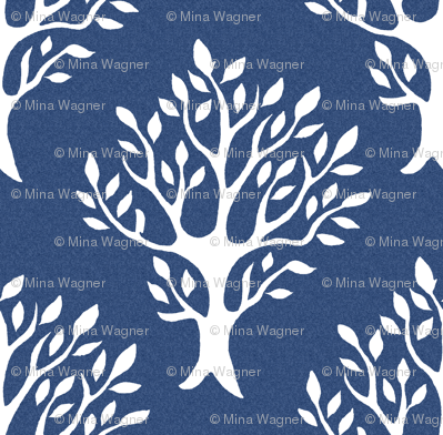 White tree stamp fabric1 - Forest - white-DK-BLUE