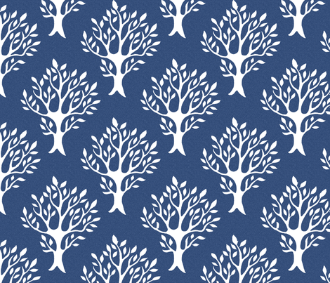 White tree stamp fabric1 - Forest - white-DK-BLUE fabric by mina on Spoonflower - custom fabric
