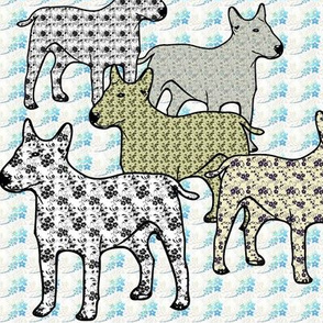 bull Terriers Floral Patterned Fabric