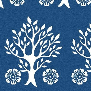 2Flowers - white tree stamps-2 - Garden - white-DK-BLUE
