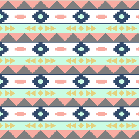 Colored aztec rows 2 fabric by >>mintpeony<< on Spoonflower - custom fabric