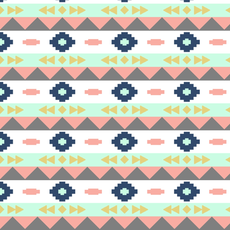 colored aztec rows fabric by >>mintpeony<< on Spoonflower - custom fabric