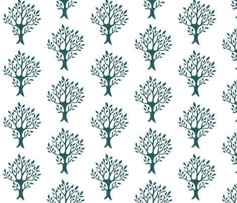 White tree stamp fabric5 - Orchard - dk-bluegreen-WHITE