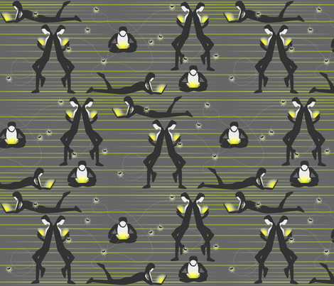 Luminescent Luminaries Illuminate - Modern Fireflies fabric by glimmericks on Spoonflower - custom fabric