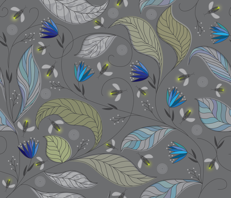 Blue firefly forest fabric by liluna on Spoonflower - custom fabric