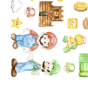 Mario Bros Watercolor
