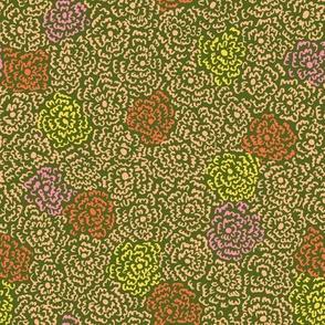 Firefly Flowers | Peach on Dark Green