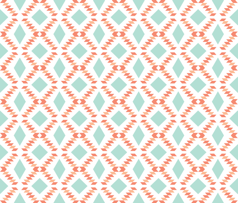 coral aqua diamond fall fabric by ivieclothco on Spoonflower - custom fabric