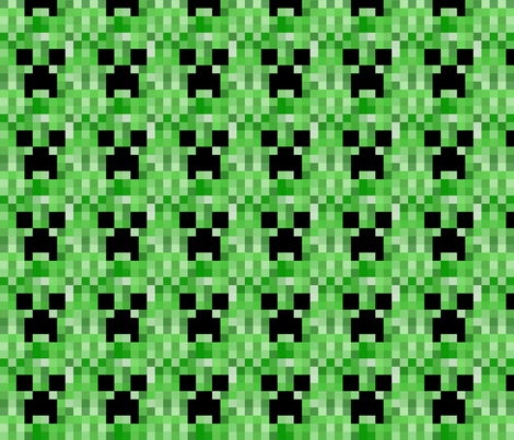 Creeper face fabric by robbie_bobbie_ on Spoonflower - custom fabric