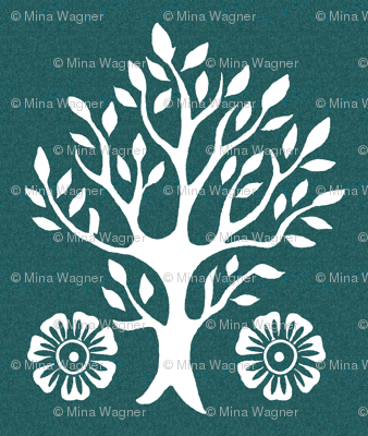 2Flowers - white tree stamps-2 - Garden - white-DK-BLUEGREEN