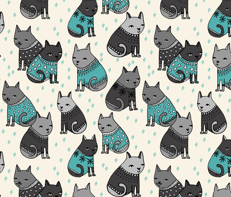 Cats at a Sweater Party - Tiffany Blue/Greys by Andrea Lauren fabric by andrea_lauren on Spoonflower - custom fabric