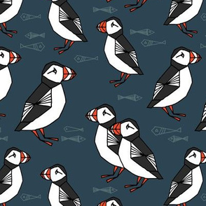 puffins // dark navy blue puffins fabric birds bird