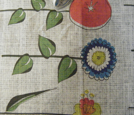 Mid Century Mod Crazy Flower on Linen