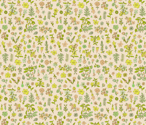 Exploded Flower Garden | Peach fabric by imaginaryanimal on Spoonflower - custom fabric