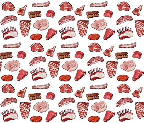 Meat Indeed on White - Small fabric by ilikemeat on Spoonflower - custom fabric