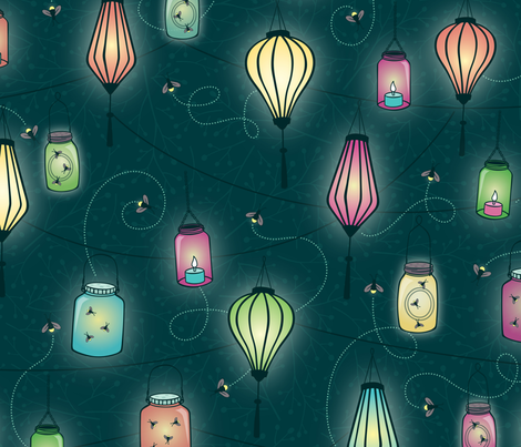 Firefly Party fabric by jennartdesigns on Spoonflower - custom fabric