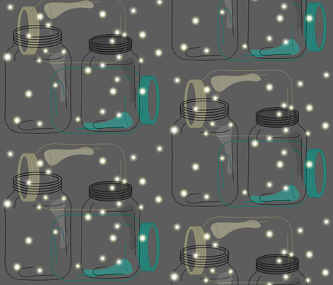 Night Life Fireflies fabric by karigari on Spoonflower - custom fabric