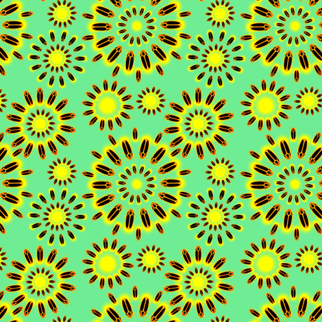 Firefly Flowers in Retro Teal fabric by rubydoor on Spoonflower - custom fabric