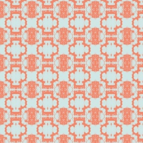 sea foam and coral Ikat