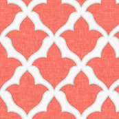 Fleur, in Coral and Mint Linen