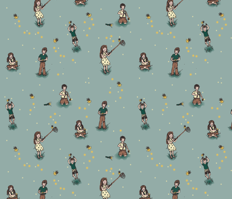 Kids Catching Fireflies fabric by radianthomestudio on Spoonflower - custom fabric