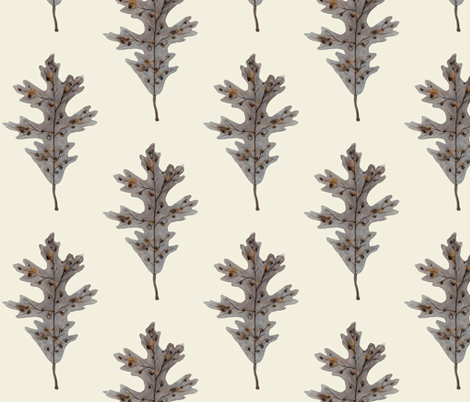 Silver Oak Leaf Natural fabric by gollybard on Spoonflower - custom fabric