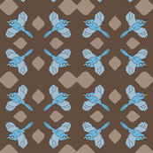 blue birds on brown