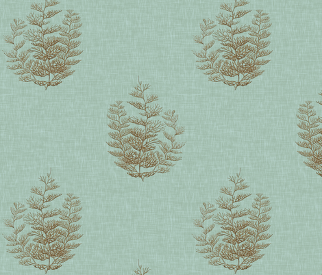 Fern Coral, in Spa fabric by willowlanetextiles on Spoonflower - custom fabric