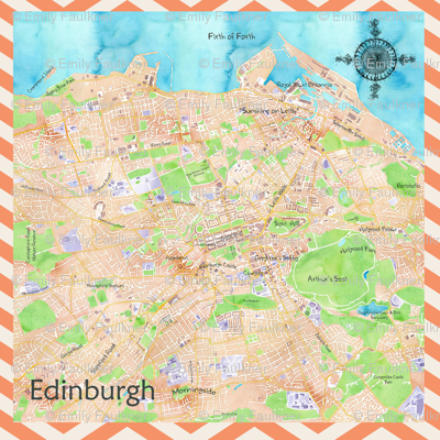 Edinburgh Watercolour Map