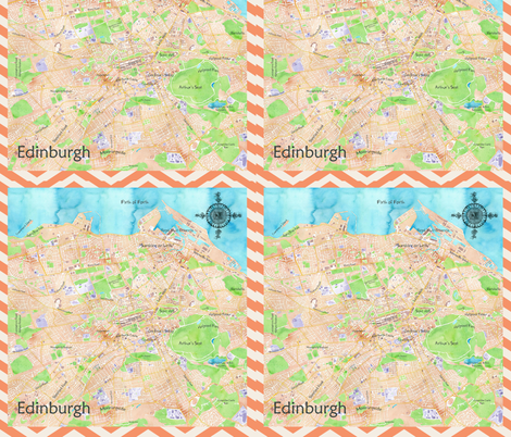 Edinburgh Watercolour Map fabric by emfaulkner on Spoonflower - custom fabric