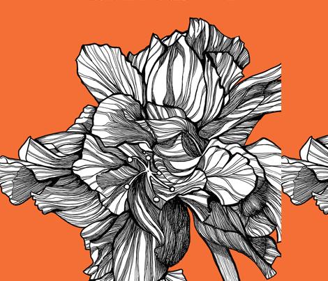 HibiscusLine_PillowFabric_Tangerine fabric by brownwilliam_llc on Spoonflower - custom fabric