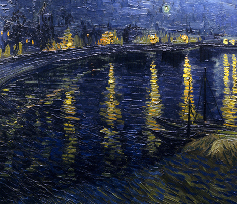 van Gogh - Starry Night Over the Rhone (1888) fabric by studiofibonacci on Spoonflower - custom fabric