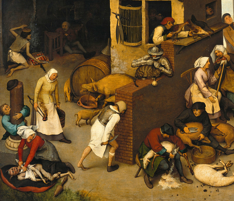 Bruegel - The Dutch Proverbs (1599) fabric by studiofibonacci on Spoonflower - custom fabric