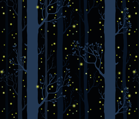 Fireflies and Stars fabric by mlahero on Spoonflower - custom fabric