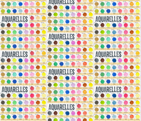 Aquarelles || watercolor paint journal color chart palette sketchbook French text typography circles dots fabric by pennycandy on Spoonflower - custom fabric