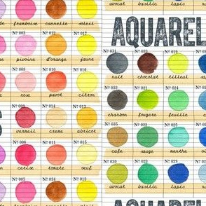 Aquarelles || watercolor paint journal color chart palette sketchbook French text typography circles dots