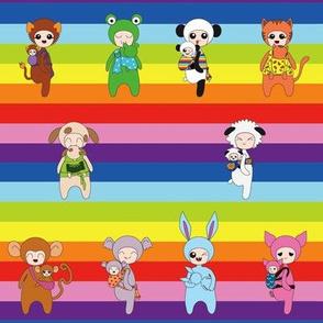 Babywearing Animals - rainbow