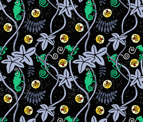 Tropical Firefly Night fabric by mezzones on Spoonflower - custom fabric