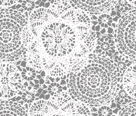 doilies lighter grey fabric by katarina on Spoonflower - custom fabric