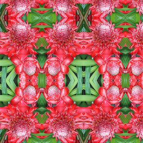 Red and green floral with Chinese drum