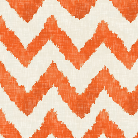 Tangerine and Linen Watercolor Ikat Chevron fabric by sparrowsong on Spoonflower - custom fabric