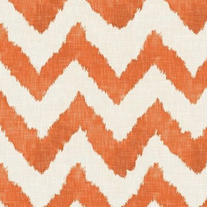 Tangerine and Linen Watercolor Ikat Chevron