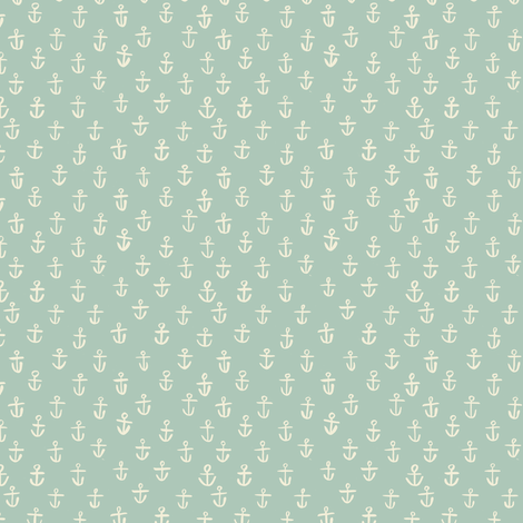 Aqua Anchors- tiny scale  fabric by gsonge on Spoonflower - custom fabric