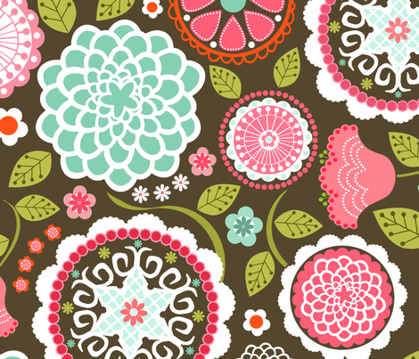 Mums in Chocolate fabric by natitys on Spoonflower - custom fabric