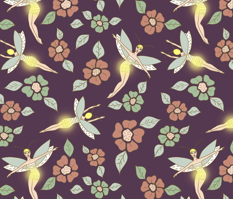Fairy fireflies fabric by fantazya on Spoonflower - custom fabric
