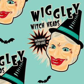 Wiggley Witch Heads on Turquoise