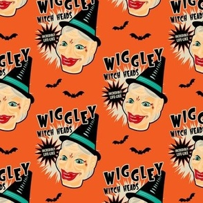 Wiggley Witch Heads on Orange (smaller scale)