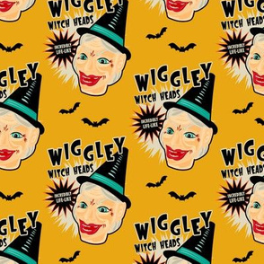 Wiggley Witch Heads on Mustard (smaller scale)
