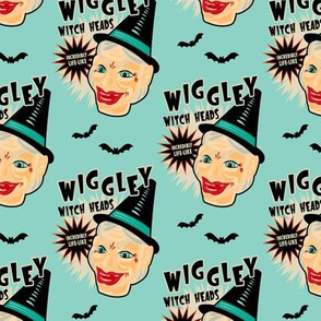 Wiggley Witch Heads on Turquoise (smaller scale)